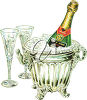 Champagne in a bucket clipart