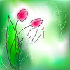 Two tulips on a green background clipart