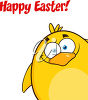 A happy easter message with a bird clipart