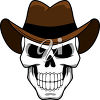 A skull in a hat clipart