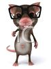 A mouse wearing black glasses clipart