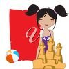 A girl at the beach with space for text clipart