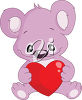 A cartoon bear holding a heart clipart