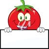 A cartoon tomato holding a banner clipart