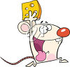 A mouse running with cheese clipart