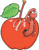A cartoon worm in an apple clipart