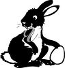 A black and white easter bunny clipart