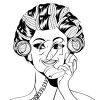 A woman talking on the phone clipart
