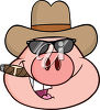 A pig smoking a cigar clipart