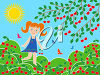 A girl in a park in the summer clipart
