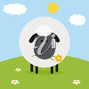 A sheep in a meadow clipart