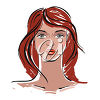 A woman with red hair clipart