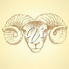 Clipart Image of a Ram on a Yellow Background clipart