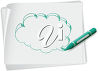 A crayon and a cloud drawing clipart