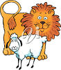 A  lamb and a lion clipart