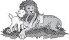 A baby lamb and a lion clipart