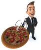 A 3d man holding a large pizza clipart