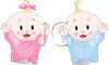 A boy baby and a girl baby clipart