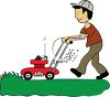 A man pushing a lawnmower clipart