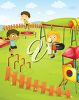 Children in a playground clipart