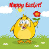 A chicken on an easter greeting clipart