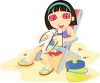 A little girl at the beach clipart
