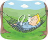 A man resting in a hammock clipart