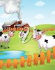 A barnyard with cow clipart