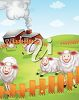 A barnyard with sheep clipart