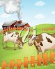 A barnyard with cows clipart
