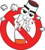 A cigarette on a smoking ban symbol clipart
