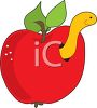 Clipart illustration of a worm in an apple. clipart