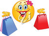 Clipart illustration of a smiling emoticon with shopping bags. clipart