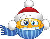 Clipart Image of a Smiley Face with a Christmas Hat and Scarf