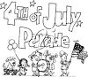 Clipart Image of a Cartoon July 4th Parade