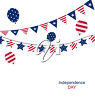 Clipart Illustration of Independence Day bunting and balloons.