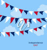 Clipart Illustration of Independence Day bunting and clouds. clipart