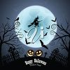 Witch flying infront of a Halloween moon clip art image. clipart