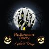 Halloween party invitation illustration with a haunted house clipart
