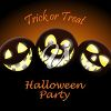 Halloween party invitation illustration with jack 'o lanterns clipart