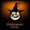 Halloween party invitation illustration with a jack 'o lantern in a witches hat clipart