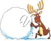 A reindeer making a large snowball clipart