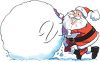 Santa making a large snowball clipart
