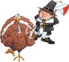 Clipart Image of a Thanksgiving Turkey and Pilgrim - Royalty Free Clip Art Illustration