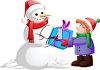 Clipart Image of a Snowman Giving a Gift