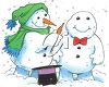 Clipart Image of Two Snowmen
