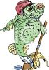 Clip Art Image of a Fish Playing Ice Hockey