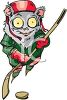 Clip Art Image of a Cat Playing Ice Hockey