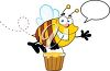 Clipart Image of a Cartoon Bee Carrying Honey