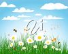 Clipart Illustration of a Floral Spring Landscape